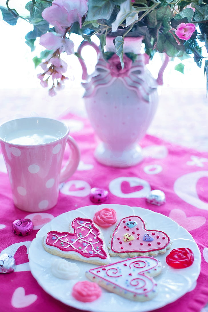 heart-shaped cookies on plate