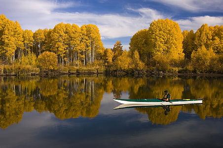 man riding kayak on lake surrounded by brown leafed trees during daytime