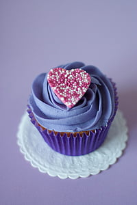 cupcake with blue icing-covered