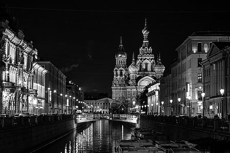 grayscale photography of St. Basil's Cathedral, Moscow