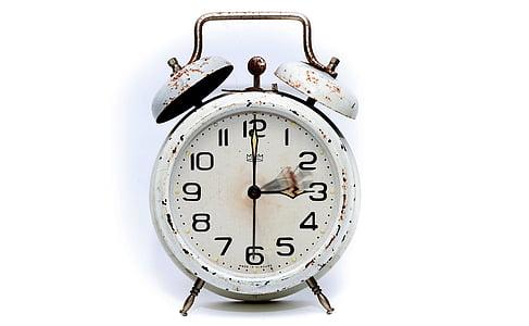 white 2-bell alarm clock