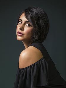 women's black cold-shoulder top