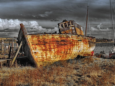 brown ship on brown soil