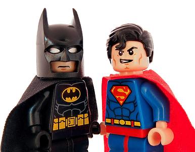 Batman and Superman LEGO minifigures