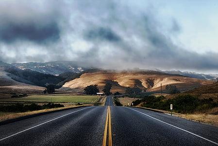 dark clouds over road