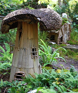 brown wooden mushroom decor