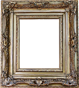 rectangular brown wooden filigree photo frame
