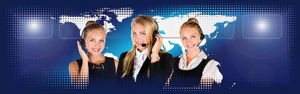 three women with headset