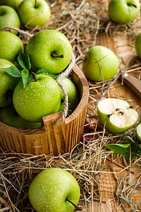 green apples in shallow focus lens