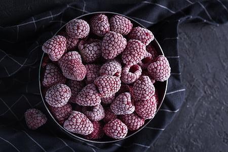 raspberries in gray steel bowl