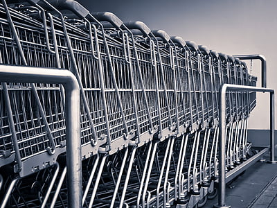 photography of stainless steel pushcarts