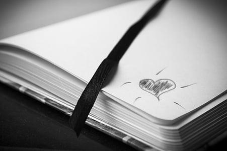 heart sketch on corner of bookpage