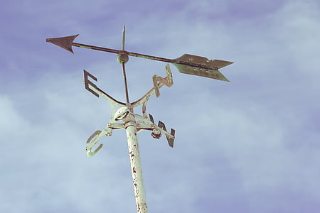 weather vane pointing east