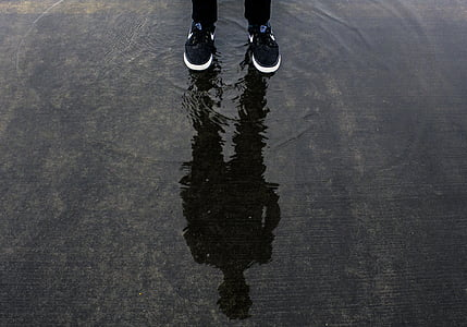 reflection of person on puddle during daytime