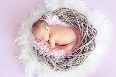 baby on pink nest sleeping