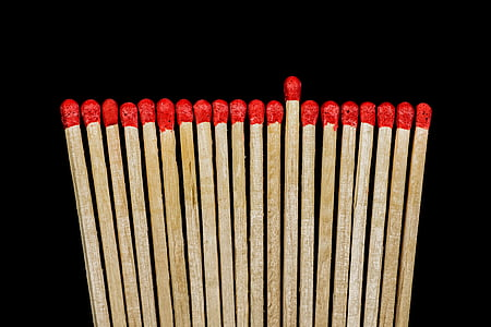 closeup photo of red and brown matches sticks