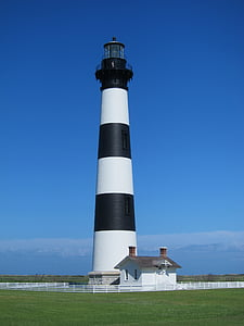 white and black lighthouse photography