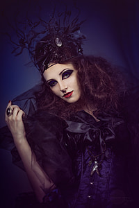 woman in black costume photography