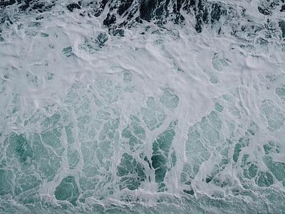 birds eye photography of sea waves