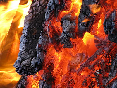 burning charcoal in close-up photography