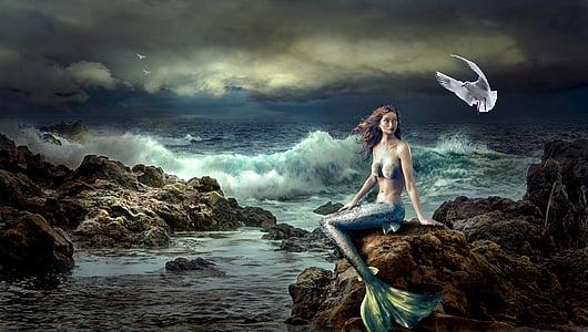 blue mermaid sitting on brown rock painting