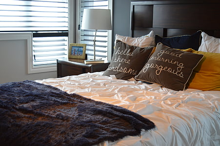 queen-size white and black bed
