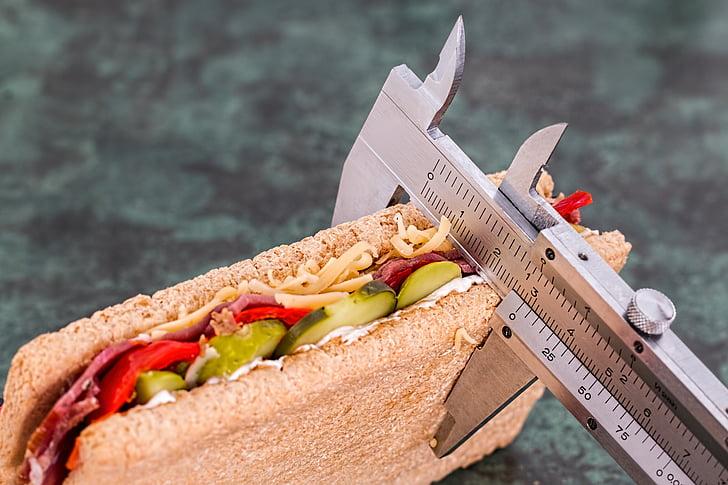 sandwich being measured by gray vernier caliper