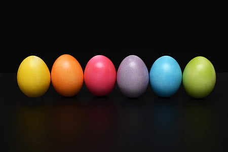 six assorted-colored eggs ornament