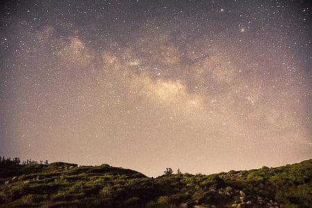nebula over green field