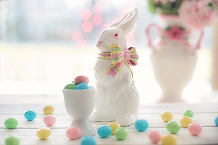 white ceramic rabbit figurine