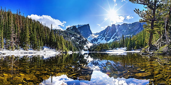 lake near snow coated mountain during daytime