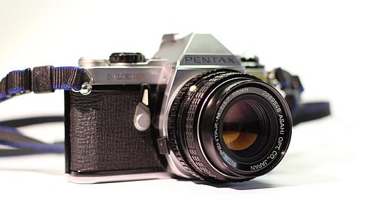 black Pentax DSLR camera