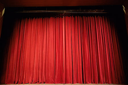 closed red theater curtains