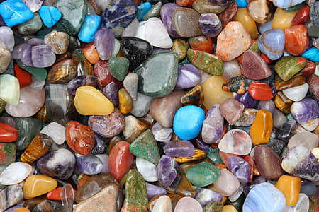 scattered assorted color pebbles