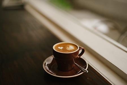 brown ceramic coffee mug on saucer