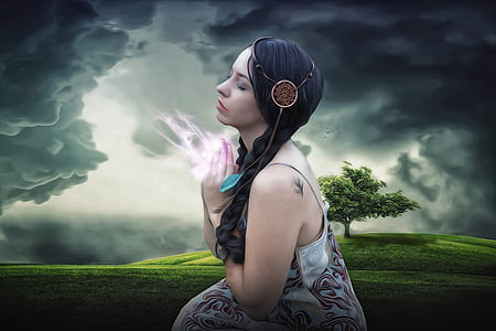 woman in black hair photo