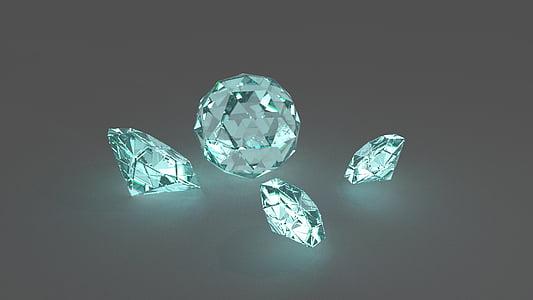 four clear gemstone illustration