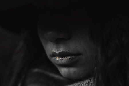 grayscale photograpy of woman