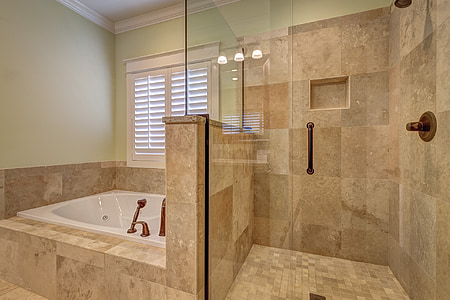 brown and gray bathroom