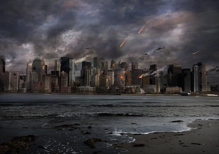 raining meteor at the city