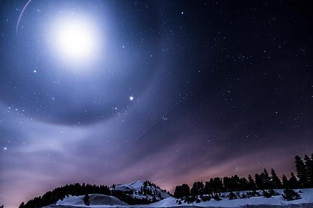 snowfield under moon light
