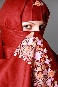 women's red, purple, and white floral niqab headdress