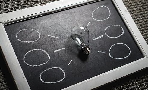 clear glass filament bulb on blackboard