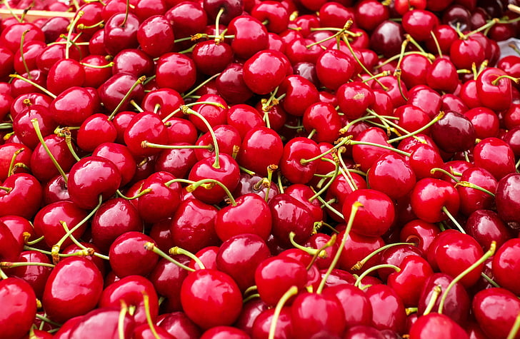 bunch of red cherries