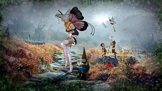 gnomes and fairy digital wallpaper