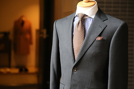 gray and brown formal attire