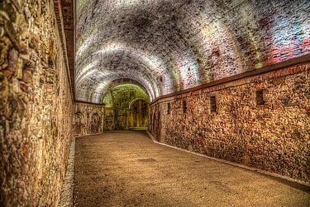 brown brick tunnel