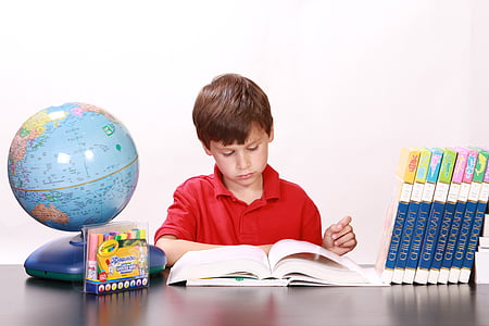 boy wearing red polo shirt reading a book