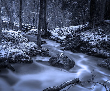 time lapse photography of cascading river