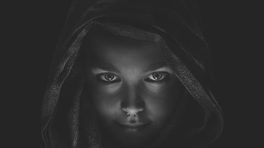 grayscale photo of woman digital wallpaper